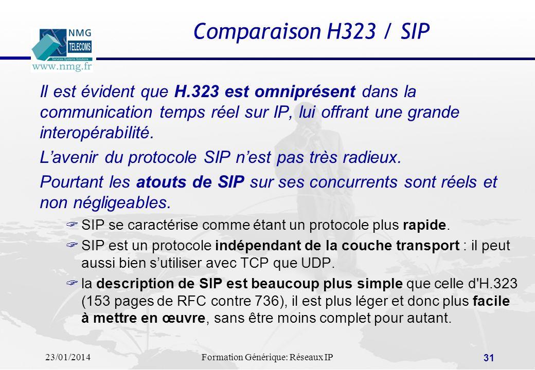 23/01/2014Formation Générique: Réseaux IP 31 Comparaison H323 / SIP Il est évident que H.323 est omniprésent dans la communication temps réel sur IP,