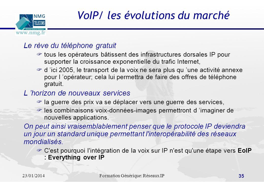 23/01/2014Formation Générique: Réseaux IP 35 VoIP/ les évolutions du marché Le rève du téléphone gratuit tous les opérateurs bâtissent des infrastruct