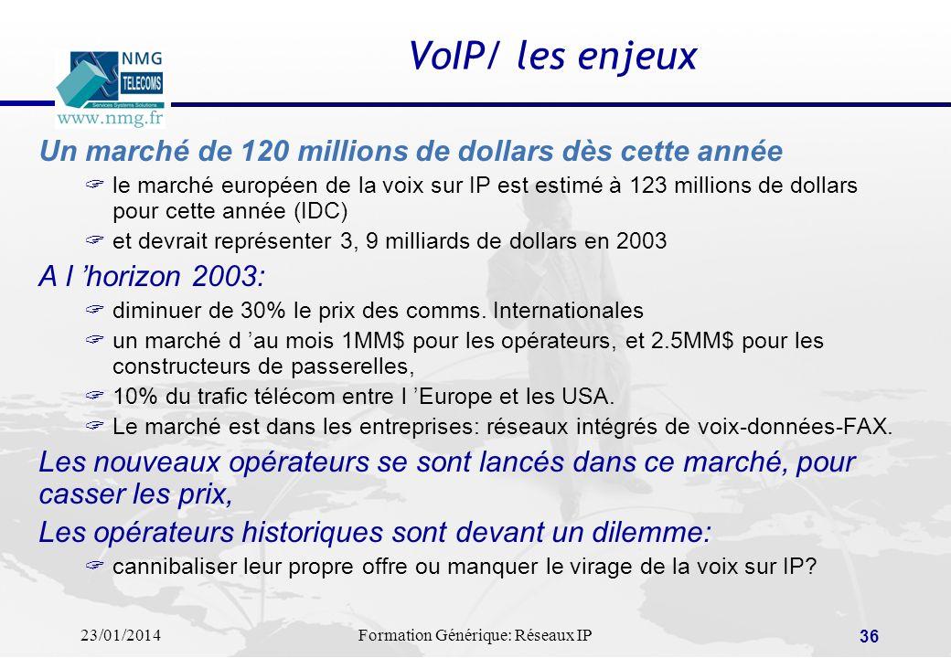 23/01/2014Formation Générique: Réseaux IP 36 VoIP/ les enjeux Un marché de 120 millions de dollars dès cette année le marché européen de la voix sur I