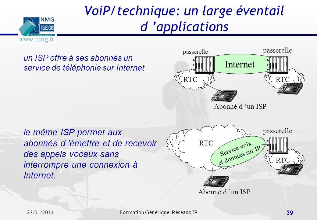 23/01/2014Formation Générique: Réseaux IP 39 VoiP/technique: un large éventail d applications un ISP offre à ses abonnés un service de téléphonie sur