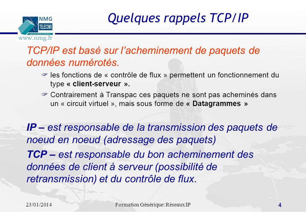 23/01/2014Formation Générique: Réseaux IP 4 Quelques rappels TCP/IP TCP/IP est basé sur lacheminement de paquets de données numérotés. les fonctions d