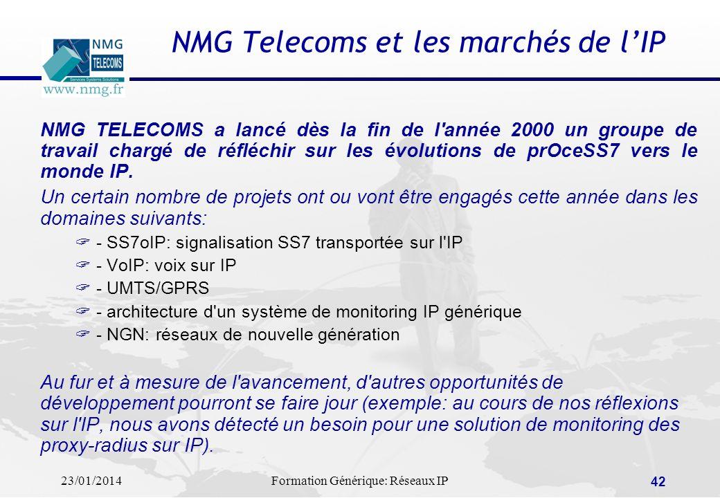 23/01/2014Formation Générique: Réseaux IP 42 NMG Telecoms et les marchés de lIP NMG TELECOMS a lancé dès la fin de l'année 2000 un groupe de travail c