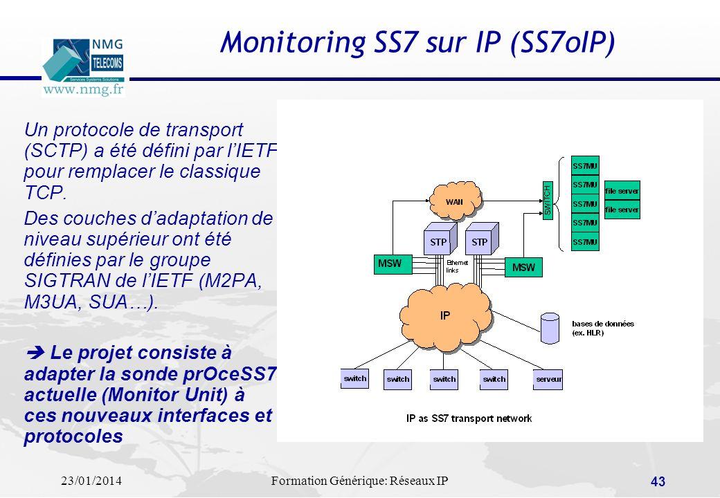 23/01/2014Formation Générique: Réseaux IP 43 Monitoring SS7 sur IP (SS7oIP) Un protocole de transport (SCTP) a été défini par lIETF pour remplacer le