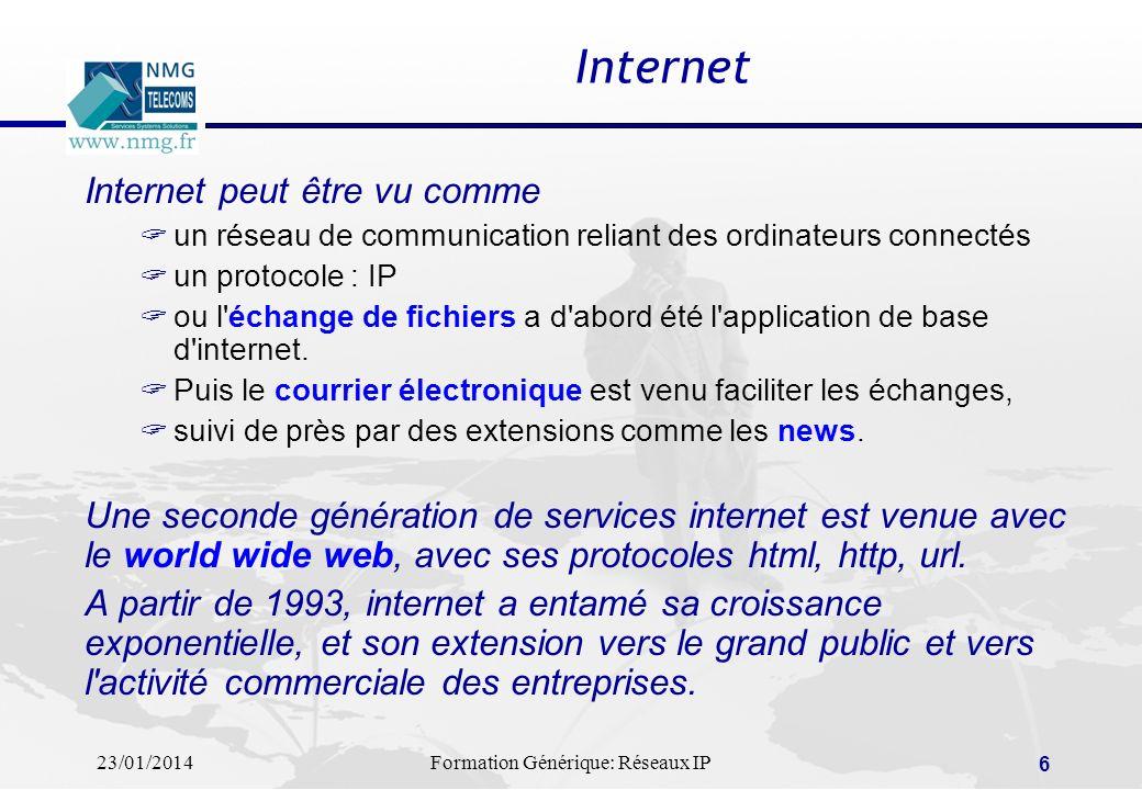 23/01/2014Formation Générique: Réseaux IP 6 Internet Internet peut être vu comme un réseau de communication reliant des ordinateurs connectés un proto