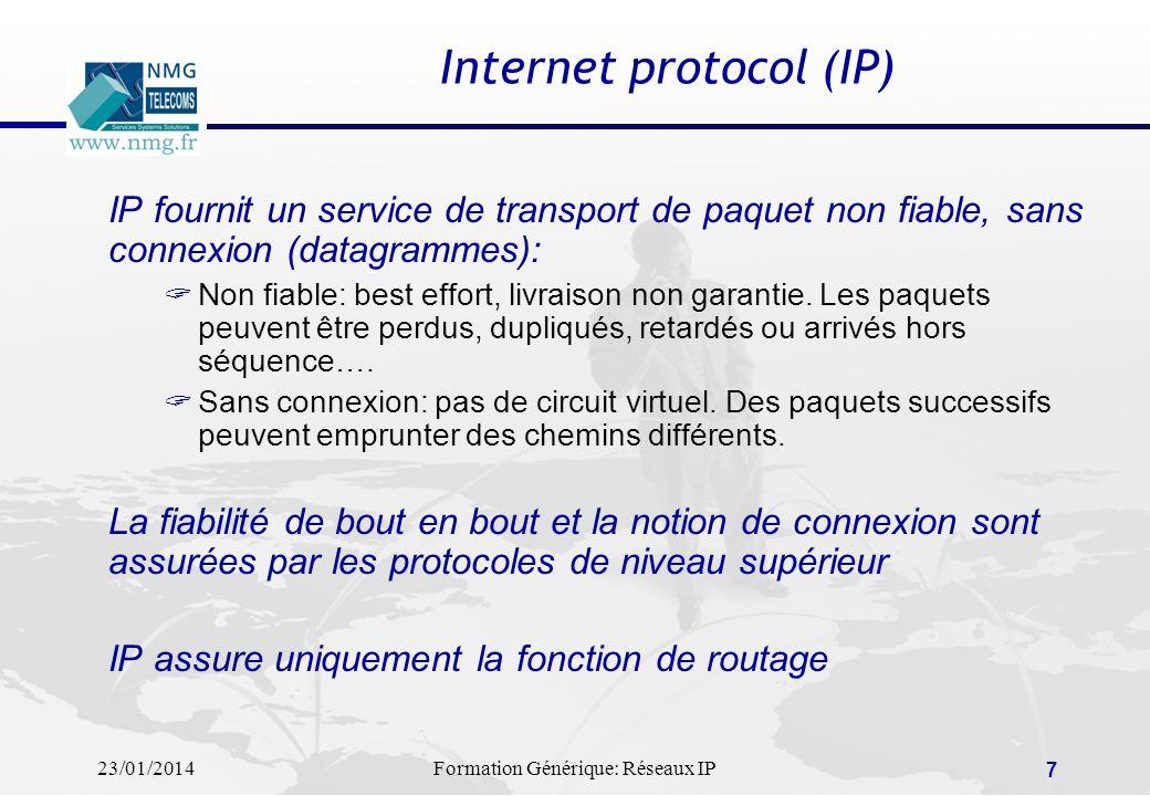 23/01/2014Formation Générique: Réseaux IP 7 Internet protocol (IP) IP fournit un service de transport de paquet non fiable, sans connexion (datagramme