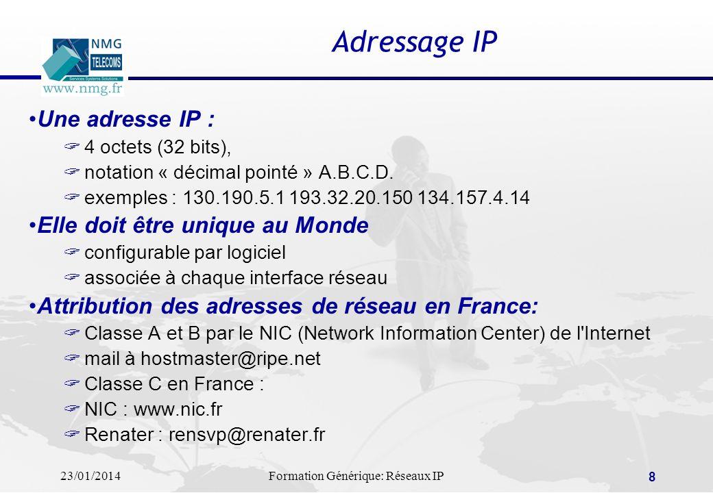 23/01/2014Formation Générique: Réseaux IP 8 Adressage IP Une adresse IP : 4 octets (32 bits), notation « décimal pointé » A.B.C.D. exemples : 130.190.