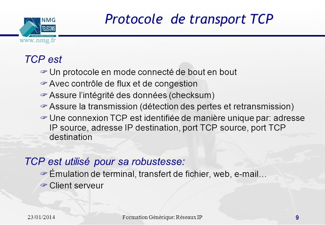 23/01/2014Formation Générique: Réseaux IP 9 Protocole de transport TCP TCP est Un protocole en mode connecté de bout en bout Avec contrôle de flux et