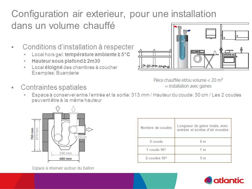 Configuration air exterieur, pour une installation dans un volume chauffé Conditions dinstallation à respecter Local hors gel: température ambiante 5°