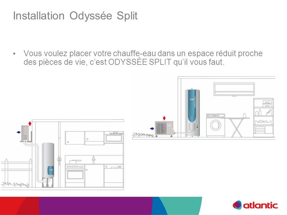 Installation Odyssée Split Vous voulez placer votre chauffe-eau dans un espace réduit proche des pièces de vie, cest ODYSSÉE SPLIT quil vous faut.
