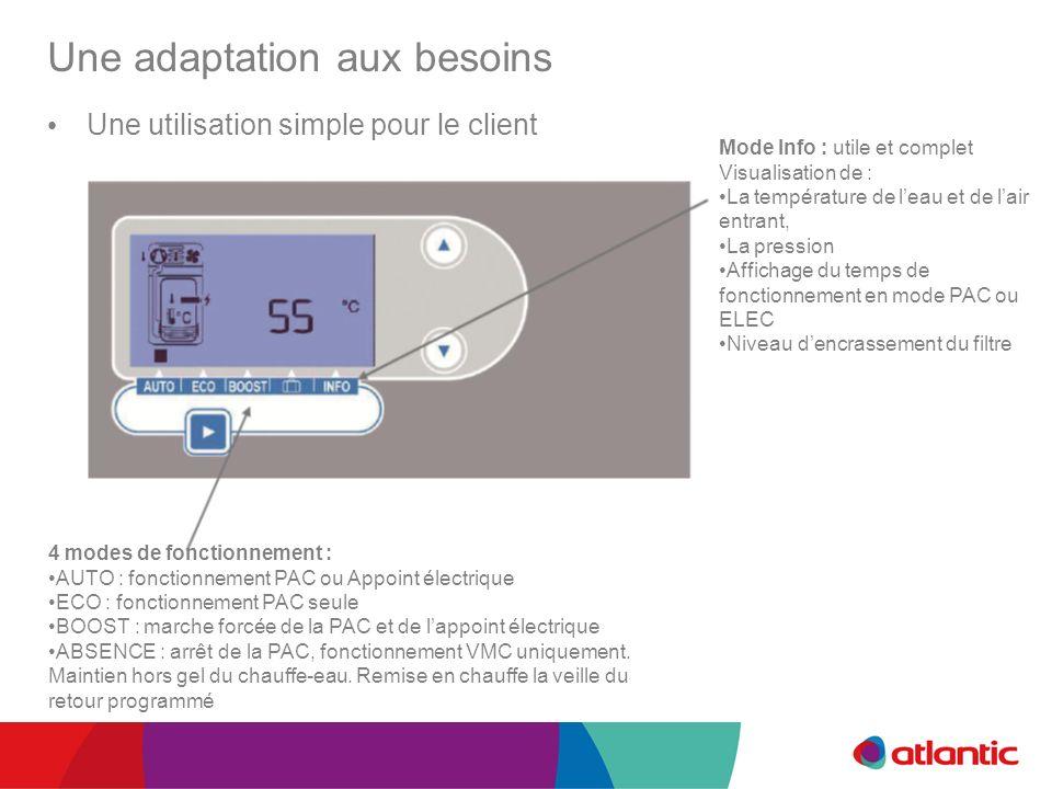 Une adaptation aux besoins Une utilisation simple pour le client Mode Info : utile et complet Visualisation de : La température de leau et de lair ent