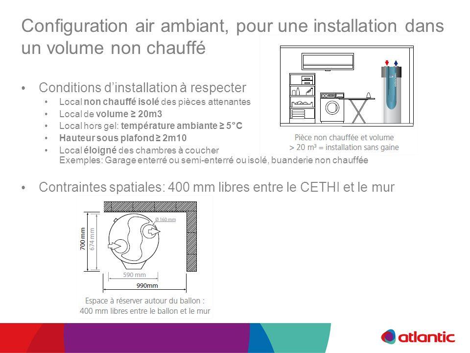 Configuration air ambiant, pour une installation dans un volume non chauffé Conditions dinstallation à respecter Local non chauffé isolé des pièces at