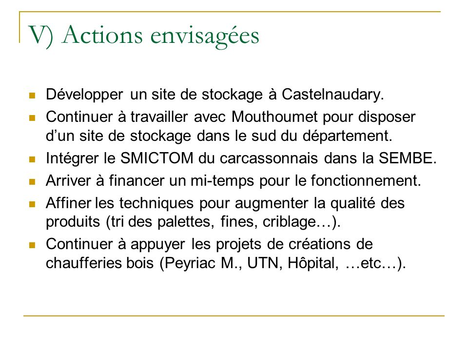 V) Actions envisagées Développer un site de stockage à Castelnaudary. Continuer à travailler avec Mouthoumet pour disposer dun site de stockage dans l