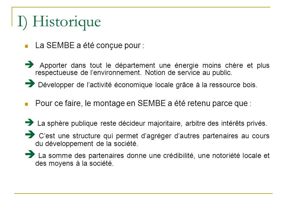 I) Historique La SEMBE a été conçue pour : Apporter dans tout le département une énergie moins chère et plus respectueuse de lenvironnement. Notion de