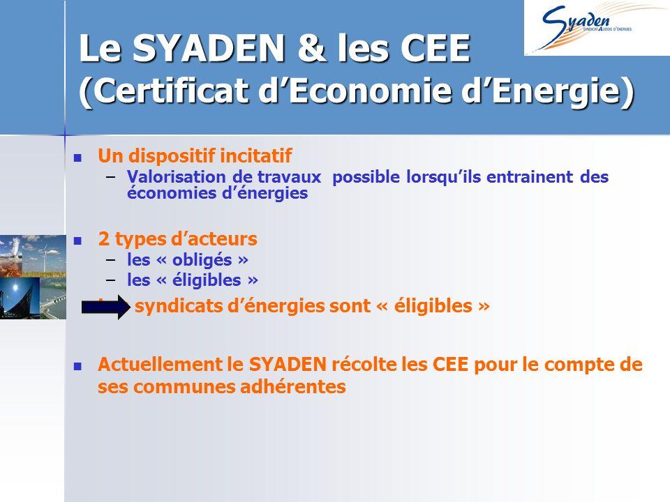 Le SYADEN & les CEE (Certificat dEconomie dEnergie) Un dispositif incitatif – –Valorisation de travaux possible lorsquils entrainent des économies dénergies 2 types dacteurs – –les « obligés » – –les « éligibles » Les syndicats dénergies sont « éligibles » Actuellement le SYADEN récolte les CEE pour le compte de ses communes adhérentes