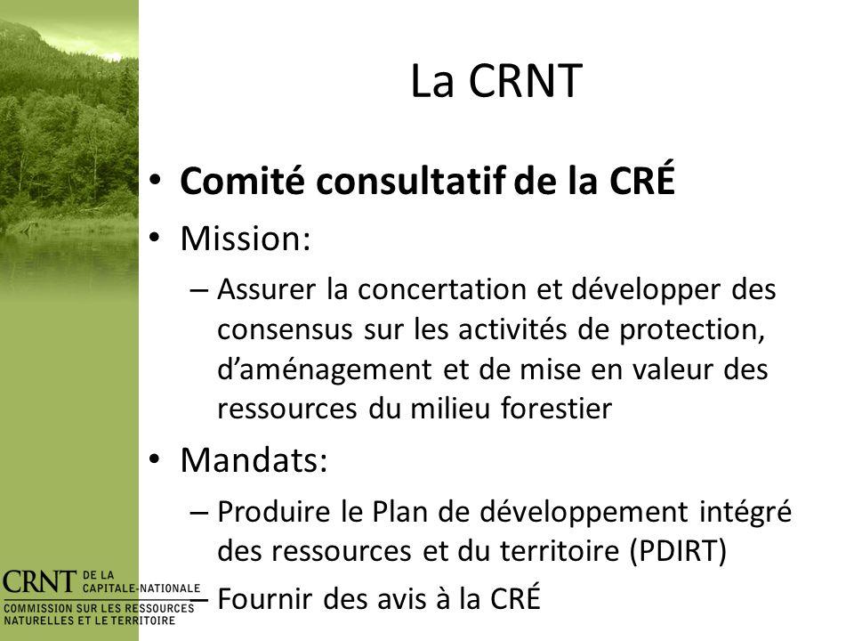 La CRNT 23 commissaires Personnes ressources Industrie forestière (3) Premières Nations (2) CLD R&D Enseignement OBV Monde municipal (4) Éducation forestière Territoires fauniques structurés (3) Environnemen t Forêt privée (2) Main-doeuvre Activités récréatives (2) MRC MRNF Emploi Qc
