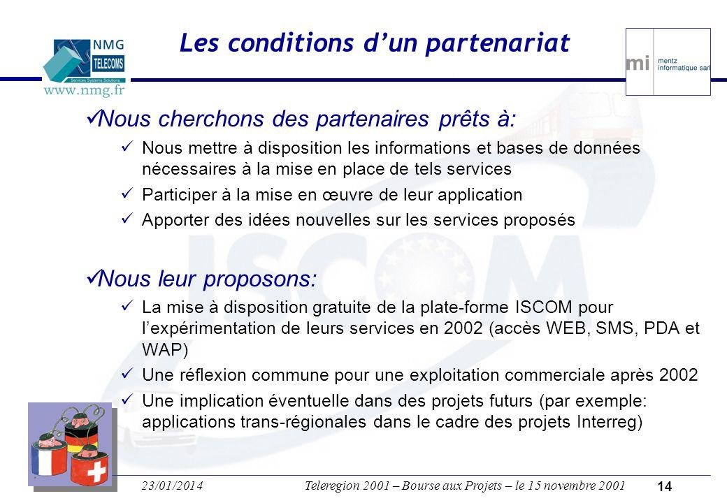 23/01/2014Teleregion 2001 – Bourse aux Projets – le 15 novembre 2001 13 Exemples de nouveaux services Quels moyens de transport pour me rendre à Teleregion 2001 .