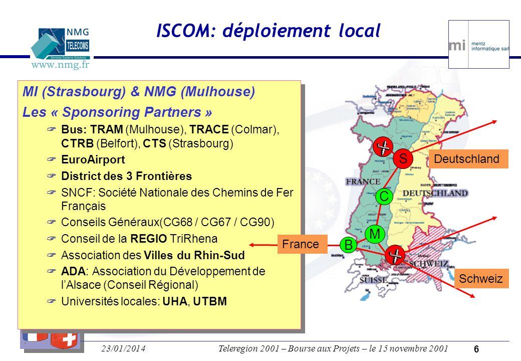23/01/2014Teleregion 2001 – Bourse aux Projets – le 15 novembre 2001 5 Aide au déplacement de personnes Intermodal: pied, bus, train, etc.