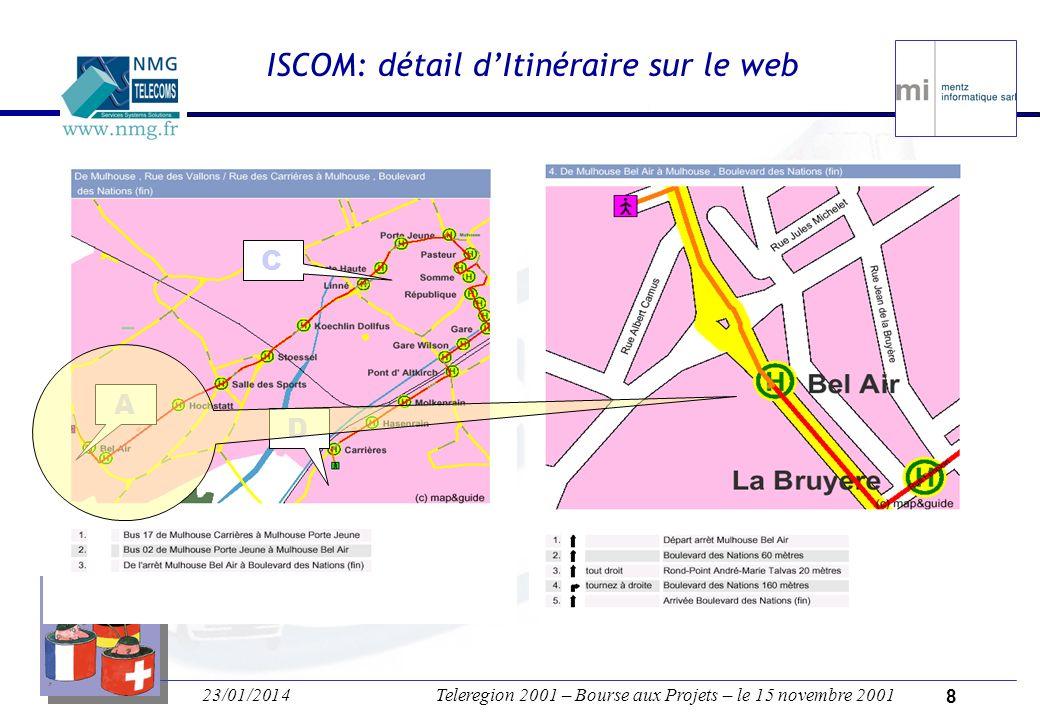 23/01/2014Teleregion 2001 – Bourse aux Projets – le 15 novembre 2001 7 ISCOM: les TRAM sur le web Comment aller de la Rue des Carrières Au Boulevard des Nations