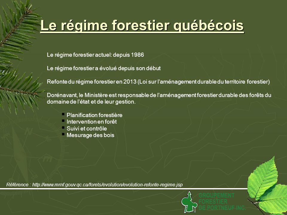 Le régime forestier québécois Le régime forestier actuel: depuis 1986 Le régime forestier a évolué depuis son début Refonte du régime forestier en 2013 (Loi sur laménagement durable du territoire forestier) Dorénavant, le Ministère est responsable de laménagement forestier durable des forêts du domaine de létat et de leur gestion.
