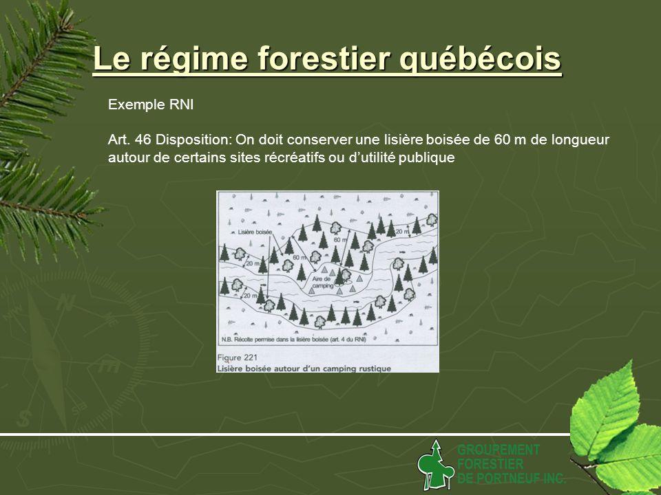 Le régime forestier québécois Exemple RNI Art.