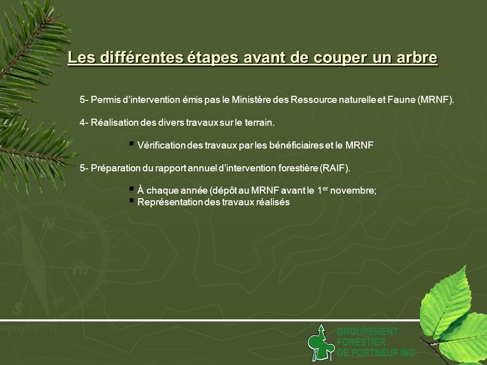 5- Permis dintervention émis pas le Ministère des Ressource naturelle et Faune (MRNF).