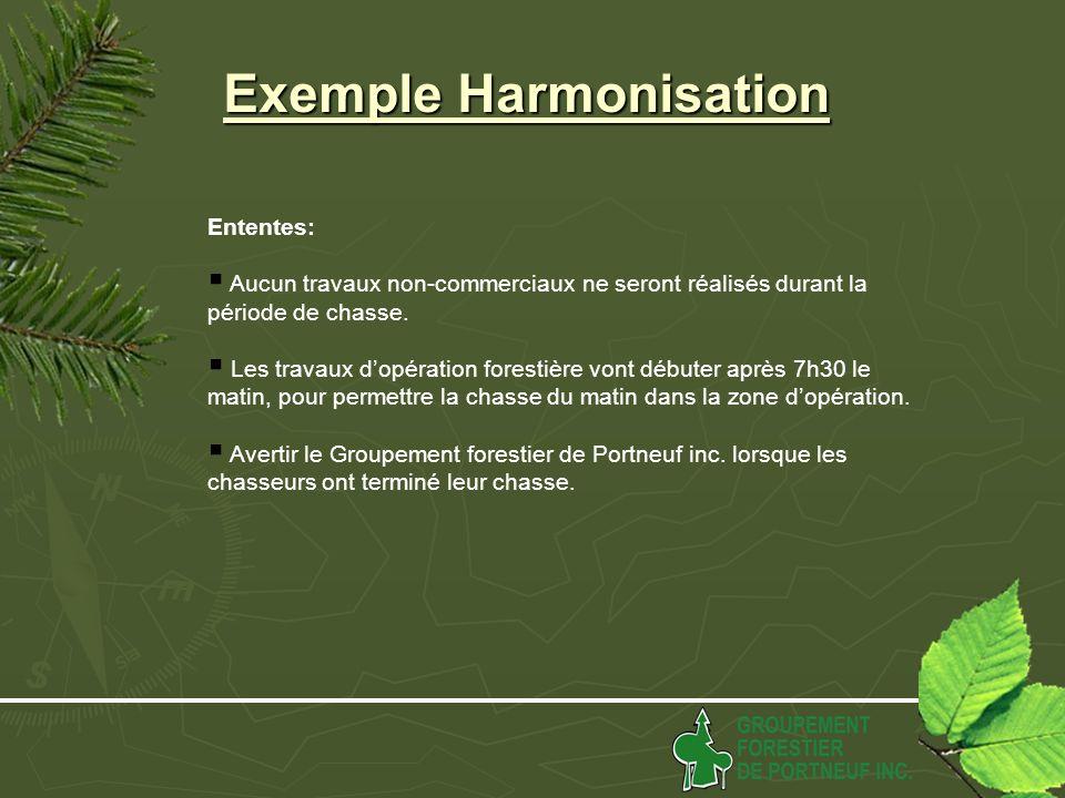 Exemple Harmonisation Ententes: Aucun travaux non-commerciaux ne seront réalisés durant la période de chasse.