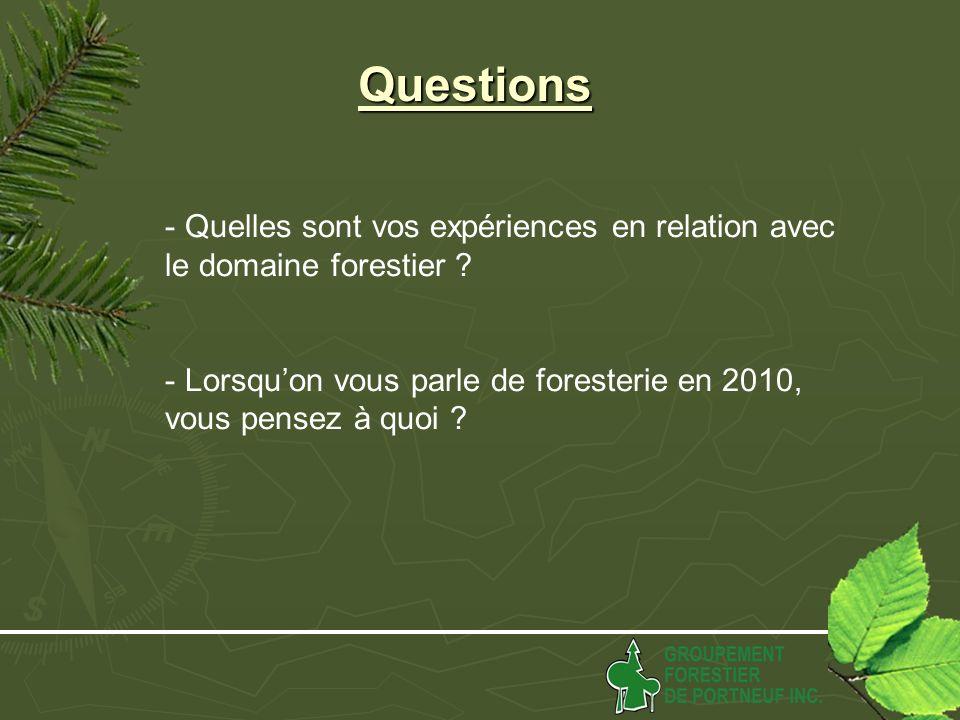 Questions - Quelles sont vos expériences en relation avec le domaine forestier .