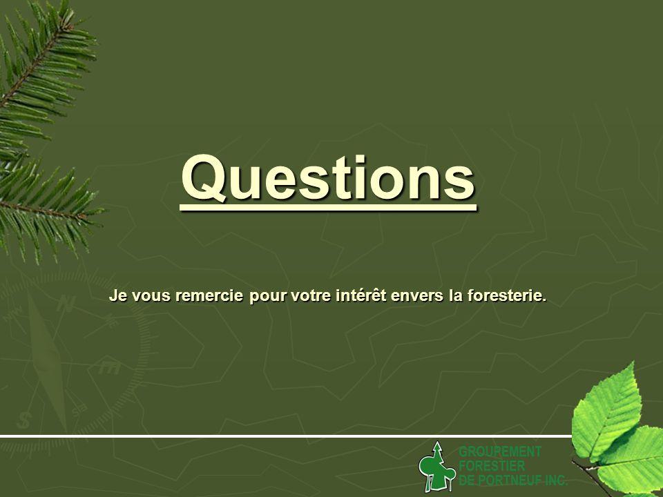 Questions Je vous remercie pour votre intérêt envers la foresterie.