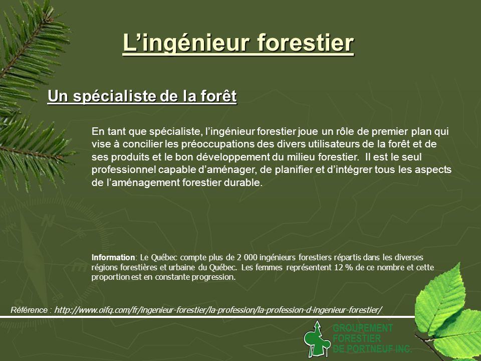 Lingénieur forestier Un spécialiste de la forêt Un spécialiste de la forêt En tant que spécialiste, lingénieur forestier joue un rôle de premier plan qui vise à concilier les préoccupations des divers utilisateurs de la forêt et de ses produits et le bon développement du milieu forestier.