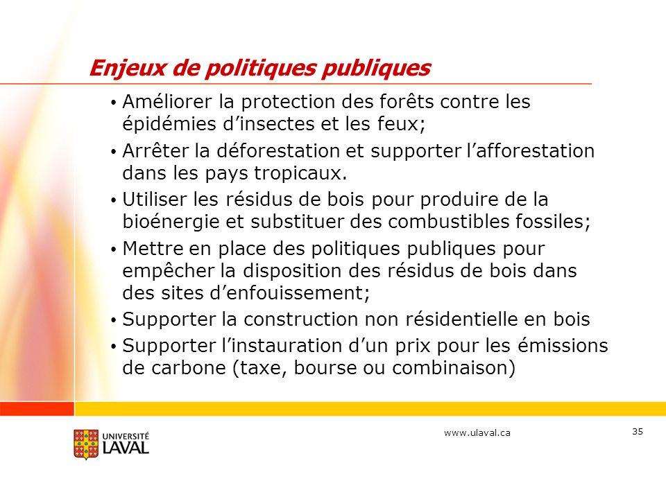 www.ulaval.ca 35 Enjeux de politiques publiques Améliorer la protection des forêts contre les épidémies dinsectes et les feux; Arrêter la déforestatio