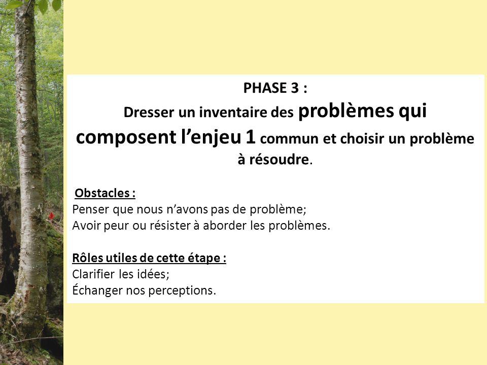 PHASE 3 : Dresser un inventaire des problèmes qui composent lenjeu 1 commun et choisir un problème à résoudre. Obstacles : Penser que nous navons pas