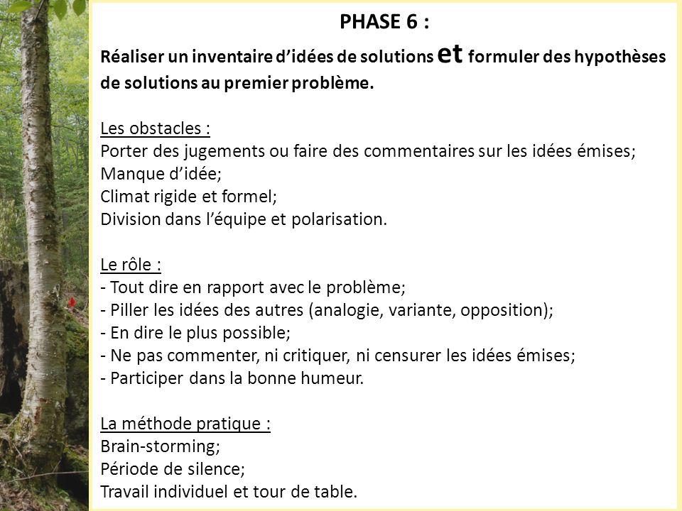 PHASE 6 : Réaliser un inventaire didées de solutions et formuler des hypothèses de solutions au premier problème. Les obstacles : Porter des jugements