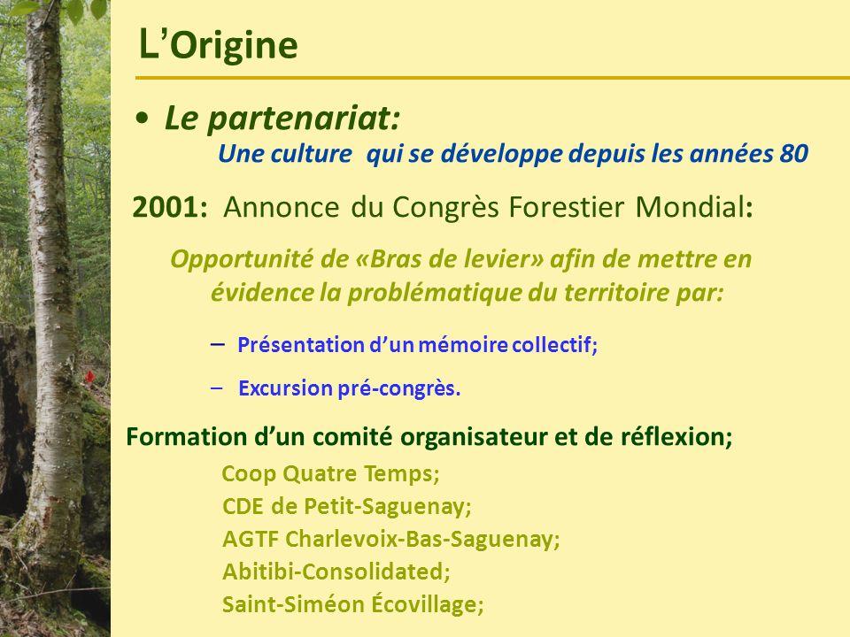 L Origine Le partenariat: Une culture qui se développe depuis les années 80 2001: Annonce du Congrès Forestier Mondial: Opportunité de «Bras de levier
