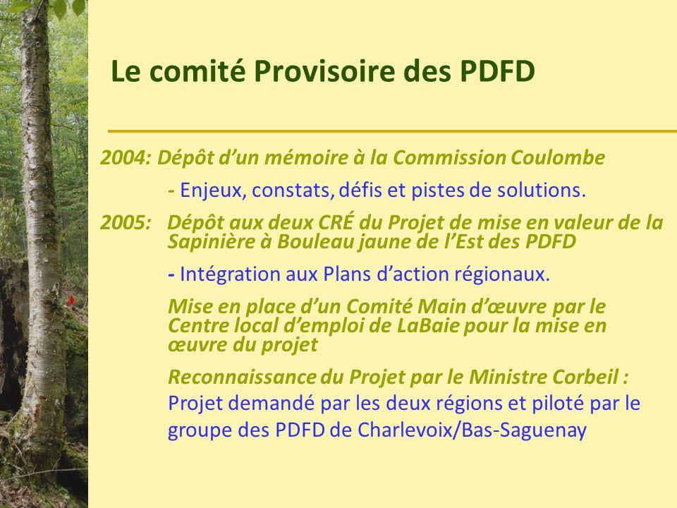 Le comité Provisoire PDFD 2006: Dépôt au Programme des Collectivités forestières - Planification stratégique des PDFD Hiver 2007: Dépôt au programme des Laboratoires ruraux du MAMROT Printemps 2008: Obtention dun Laboratoire rural.