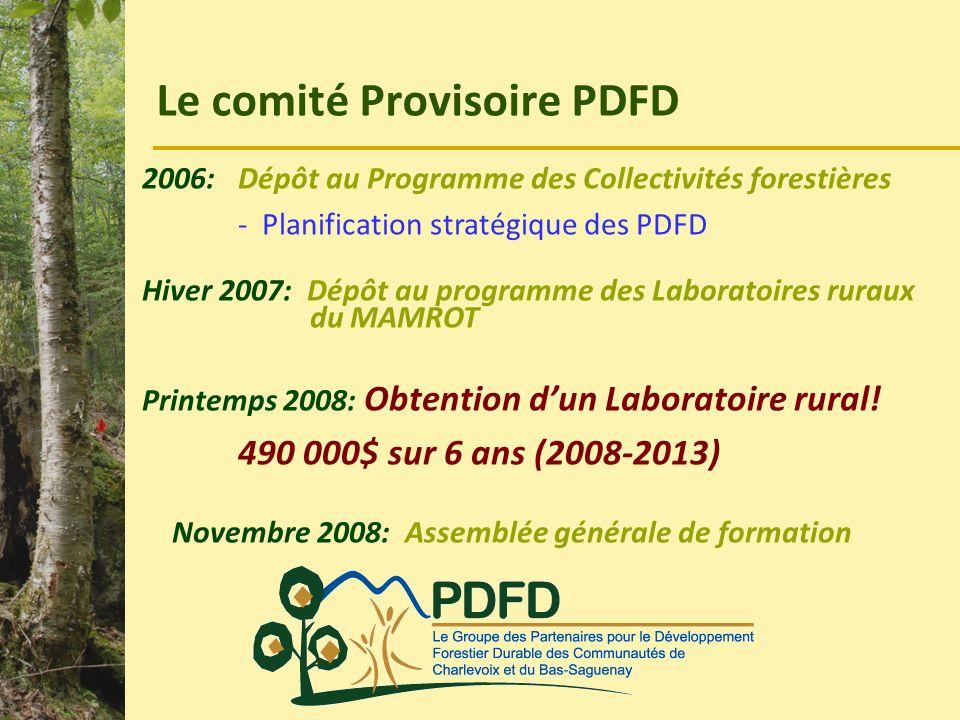 Le comité Provisoire PDFD 2006: Dépôt au Programme des Collectivités forestières - Planification stratégique des PDFD Hiver 2007: Dépôt au programme d