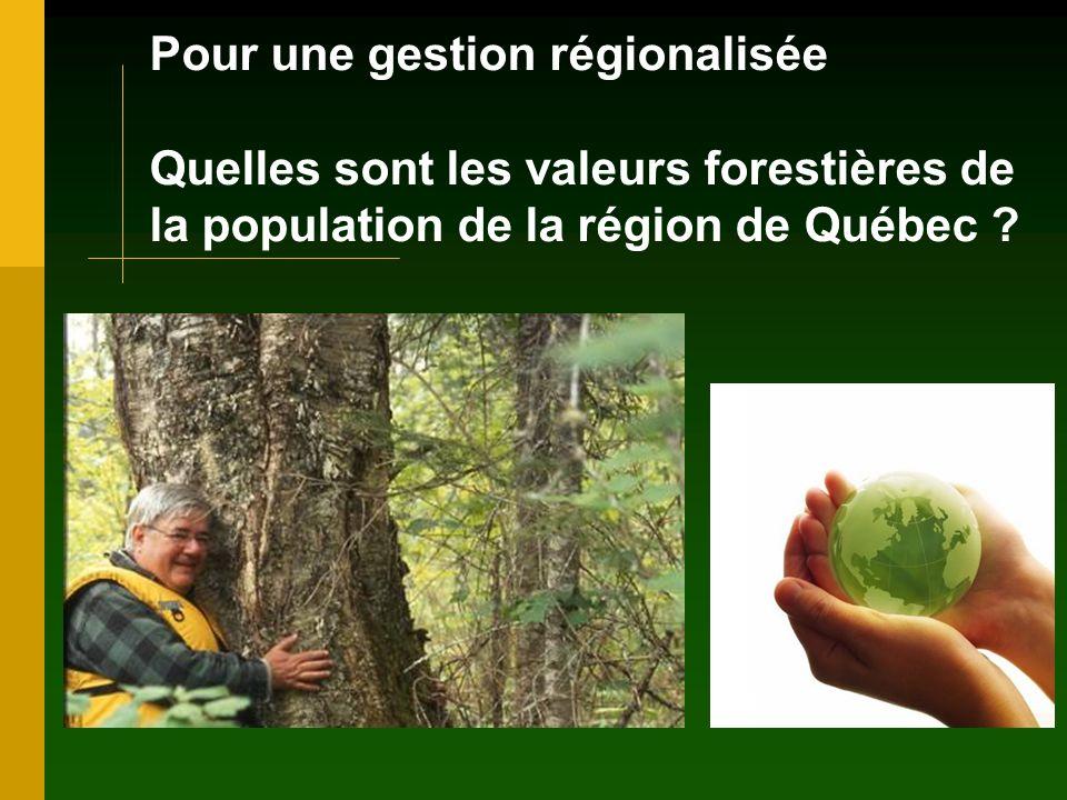 Pour une gestion régionalisée Quelles sont les valeurs forestières de la population de la région de Québec ?