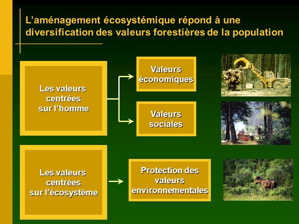 Laménagement écosystémique répond à une diversification des valeurs forestières de la population Les valeurs centrées sur lhomme Les valeurs centrées sur lécosystème Valeurséconomiques Valeurssociales Protection des valeursenvironnementales