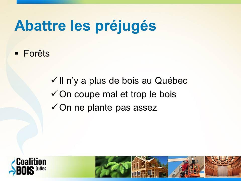 Abattre les préjugés Forêts Il ny a plus de bois au Québec On coupe mal et trop le bois On ne plante pas assez