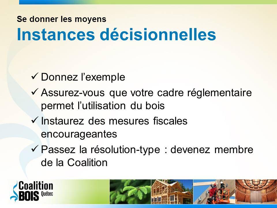 Se donner les moyens Instances décisionnelles Donnez lexemple Assurez-vous que votre cadre réglementaire permet lutilisation du bois Instaurez des mesures fiscales encourageantes Passez la résolution-type : devenez membre de la Coalition