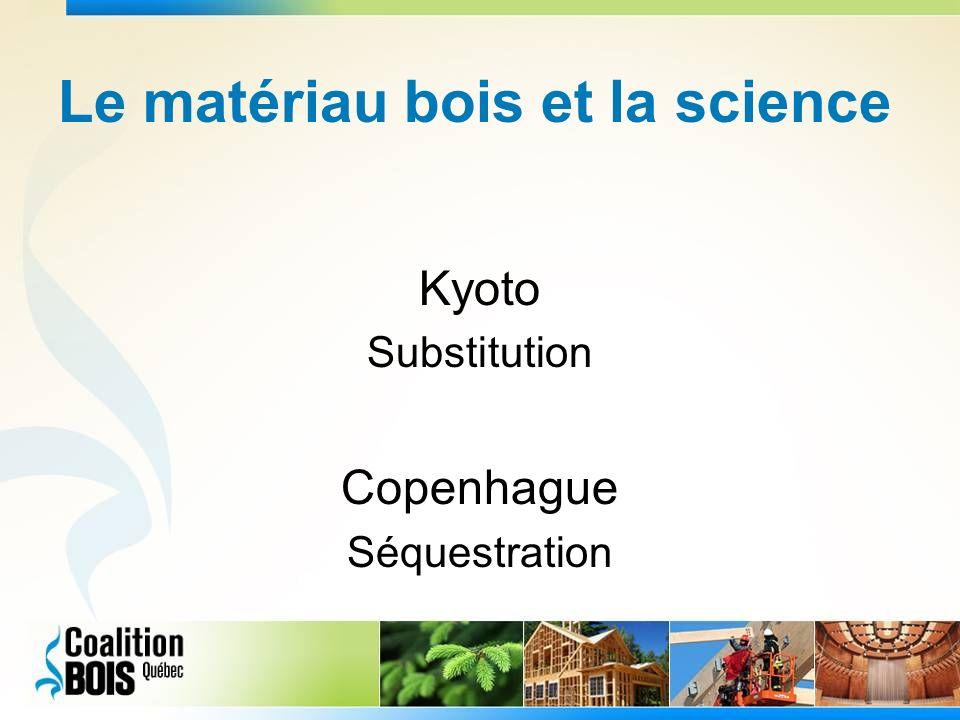 Le matériau bois et la science Kyoto Substitution Copenhague Séquestration