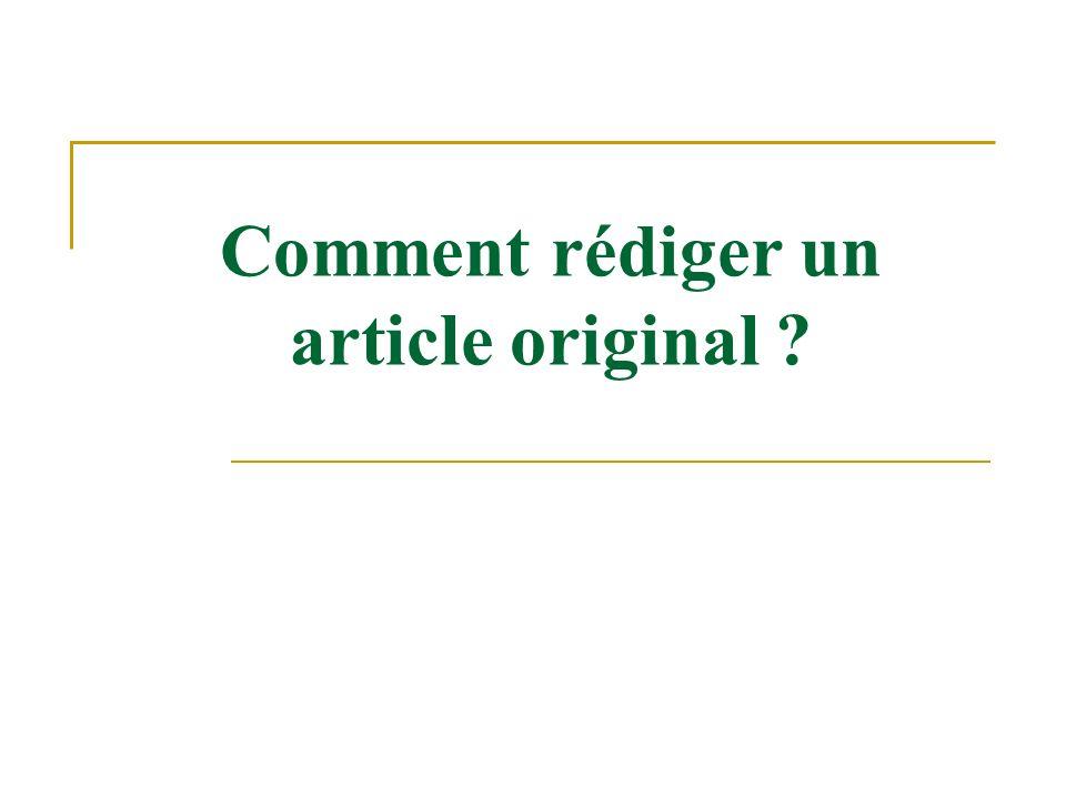 Comment rédiger un article original ?