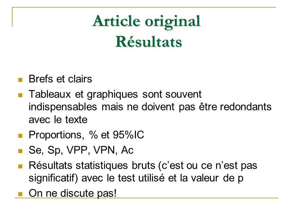 Brefs et clairs Tableaux et graphiques sont souvent indispensables mais ne doivent pas être redondants avec le texte Proportions, % et 95%IC Se, Sp, V