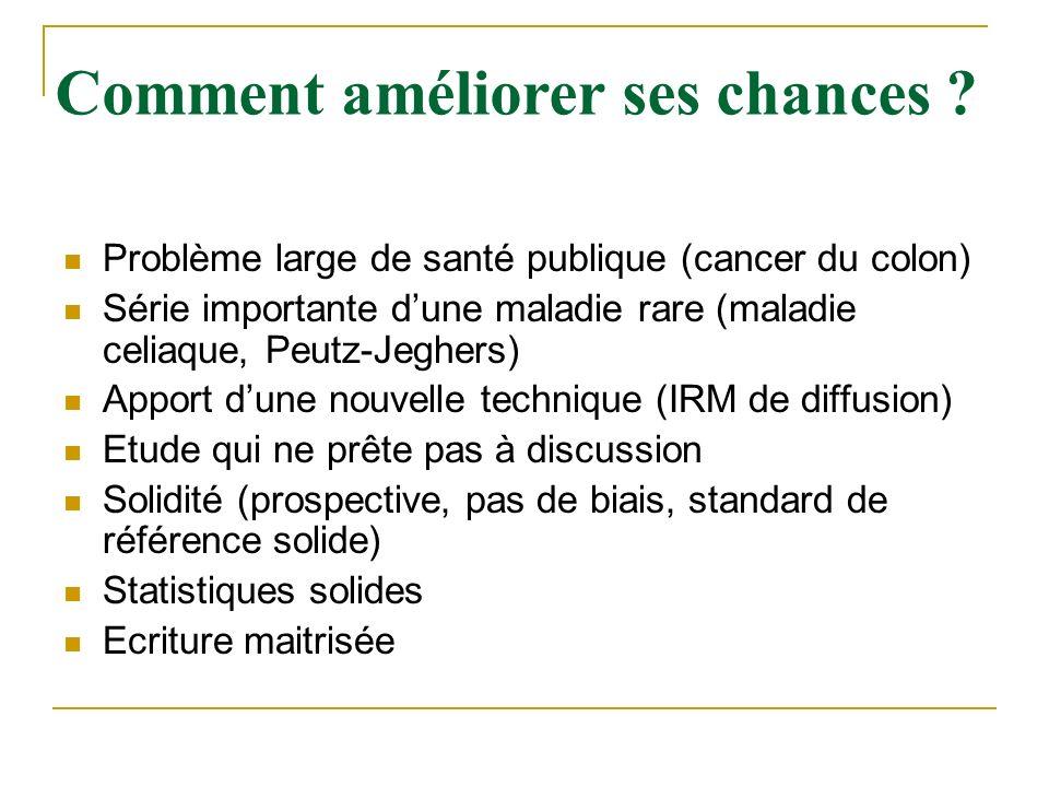 Problème large de santé publique (cancer du colon) Série importante dune maladie rare (maladie celiaque, Peutz-Jeghers) Apport dune nouvelle technique