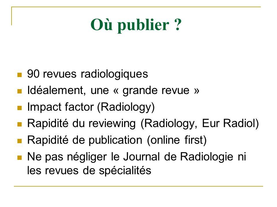 90 revues radiologiques Idéalement, une « grande revue » Impact factor (Radiology) Rapidité du reviewing (Radiology, Eur Radiol) Rapidité de publicati