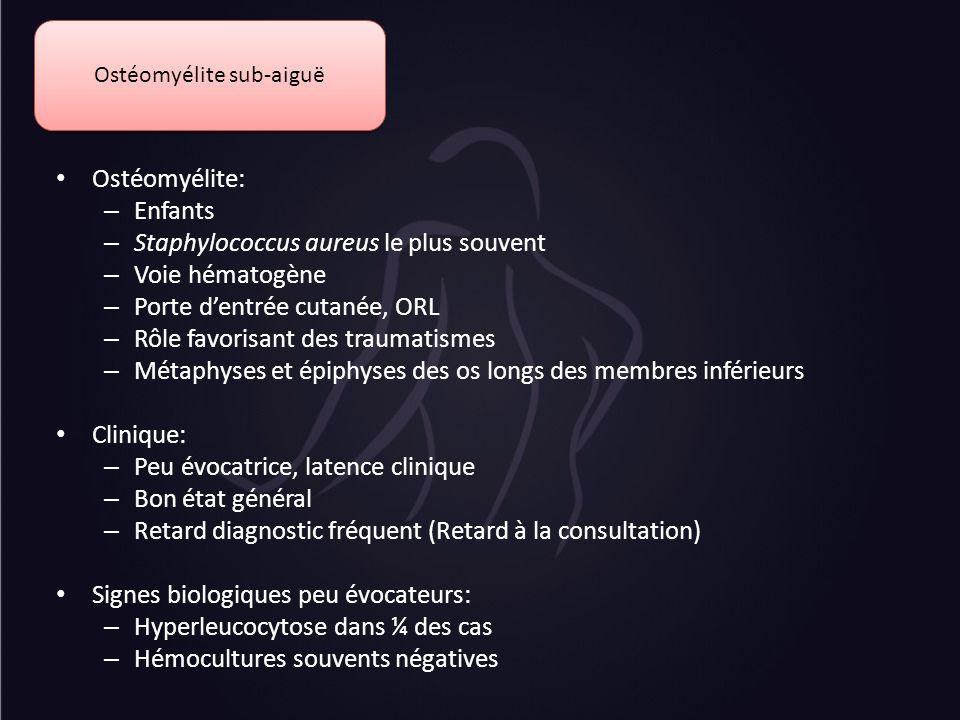 Ostéomyélite sub-aiguë Ostéomyélite: – Enfants – Staphylococcus aureus le plus souvent – Voie hématogène – Porte dentrée cutanée, ORL – Rôle favorisan
