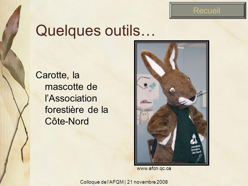 Quelques outils… Carotte, la mascotte de lAssociation forestière de la Côte-Nord Recueil Colloque de lAFQM | 21 novembre 2008 www.afcn.qc.ca