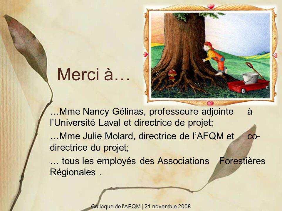 Merci à… …Mme Nancy Gélinas, professeure adjointe à lUniversité Laval et directrice de projet; …Mme Julie Molard, directrice de lAFQM et co- directric