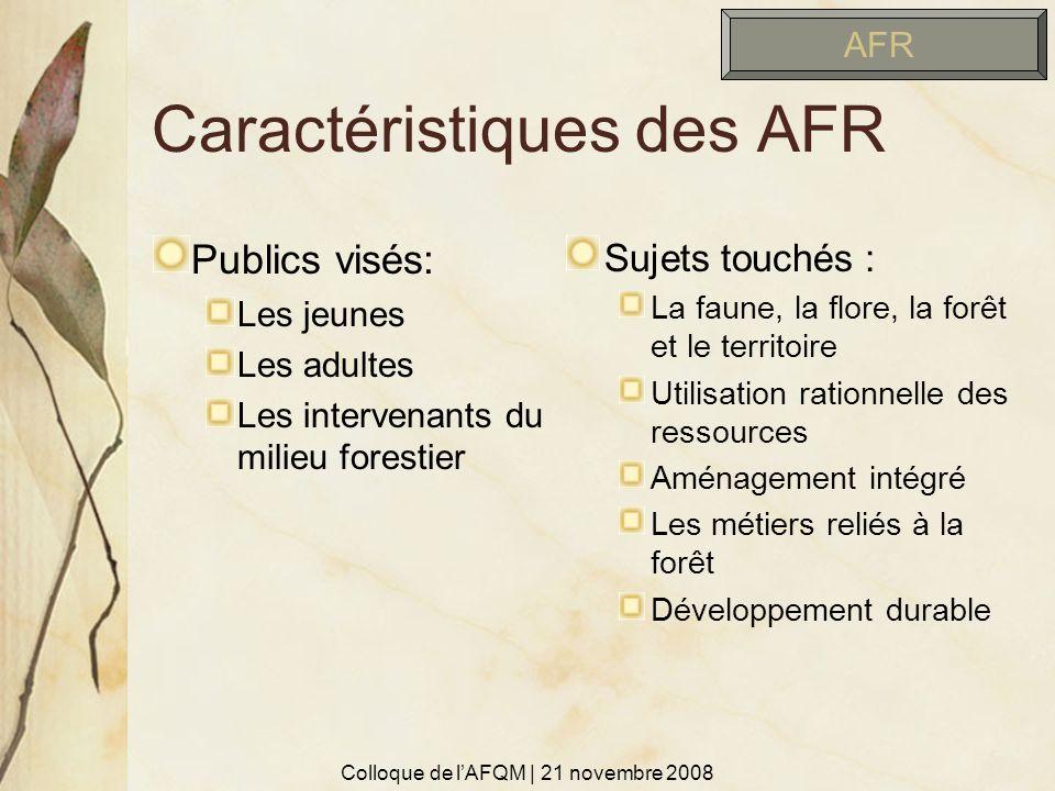 Caractéristiques des AFR Publics visés: Les jeunes Les adultes Les intervenants du milieu forestier Sujets touchés : La faune, la flore, la forêt et l
