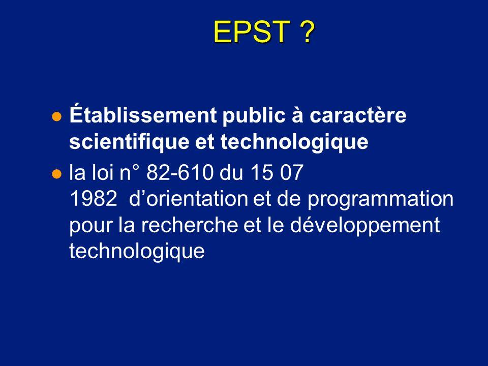 EPST ? l Établissement public à caractère scientifique et technologique l la loi n° 82-610 du 15 07 1982 dorientation et de programmation pour la rech