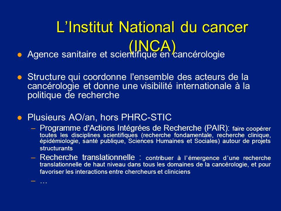 LInstitut National du cancer (INCA) l Agence sanitaire et scientifique en cancérologie l Structure qui coordonne l'ensemble des acteurs de la cancérol